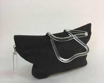 1940s Corde Purse / 40s vintage Brown Corde Handbag Lucite Handle