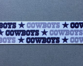 "DALLAS COWBOYS  - 1"" Grosgrain Ribbon with Repeating Logos"