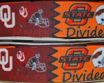 OU-OSU House Divided 7/8 Grosgrain Ribbon - 3 Yards