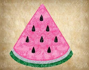 Watermelon svg, Watermelon slice svg, mandala watermelon slice svg, silhouette, cricut, digital file, cut file, watermelon cut file, mandala