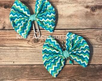 Fabric bows - Aqua chevron