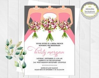Wedding Dress Bridal Shower Invitation | Bridesmaids Luncheon Invitation | Bridal Brunch | Bouquet | Pearls | Wedding Shower | Printable