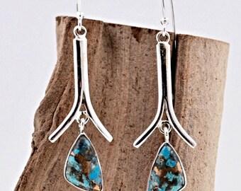 Bohemian Handmade Sterling Silver Earrings Turquoise