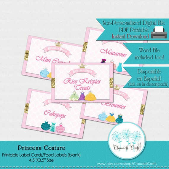 Princess couture inspired printable label cards blank for Couture labels