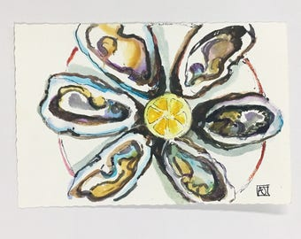 Original watercolor, oysters painting, kitchen art, chef gift, 4 x 6 postcard, original postcard