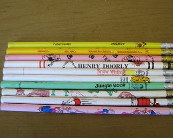 Set of 10 collectible pencils- vintage - display- kids pencils- advertising- memorbilia- tourism - Mickey Mouse- Snow White- Garfield- 70s