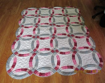 Shades of Rose and Gray give this Traditional Quilt Pattern a Contempary Look for 2017