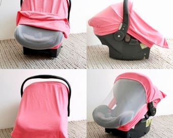 PINK || Screened in Car Seat Cover - Infant Car Seat Cover - Stretchy Car Seat Cover - Infant Baby Carrier Cover - Carseat Cover