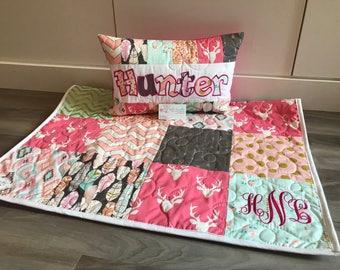Art gallery pink deer modern baby quilt