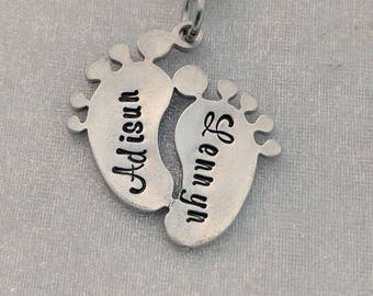 Baby Feet with Names - Pewter Baby Feet - Personalized Feet Necklace - New Mom Necklace - Mom Jewelry - Footprint Necklace - Metal Stamped