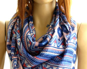 authentic cotton scarf aztec scarf blue white maya scarf summer scarf trendy scarf