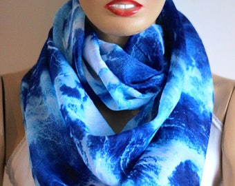 blue Authentic Printed  Silk chiffon infinity Scarf. Fashion infinity scarf. Loop scarf. Circle scarf. Women Scarf. Gift idea, Accessories