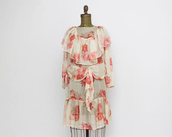Antique 1920s Silk Rose Print Day Dress - Size Medium