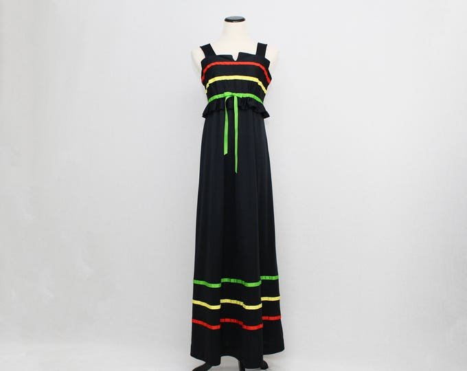 Vintage 1970s Black Maxi Dress - Size Medium