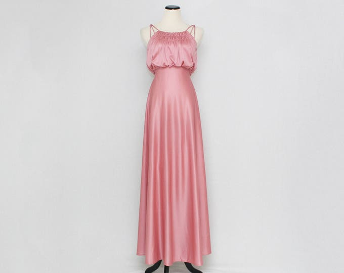 Vintage 1970s Dusty Rose Maxi Dress - Size Extra Small