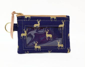 Deer Print Coin ID Wallet, Small Navy Zip Coin Wallet, Student Id Holder, License Holder, Badge ID Holder, Key Ring Wallet, Card Case