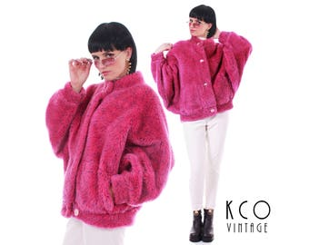 90s Vtg Pink Faux Fur Coat TRONCI Italy Massive Batwing Speckled Blue Shaggy Club Kid Raver Vintage Jacket Women's Size MEDIUM / LARGE