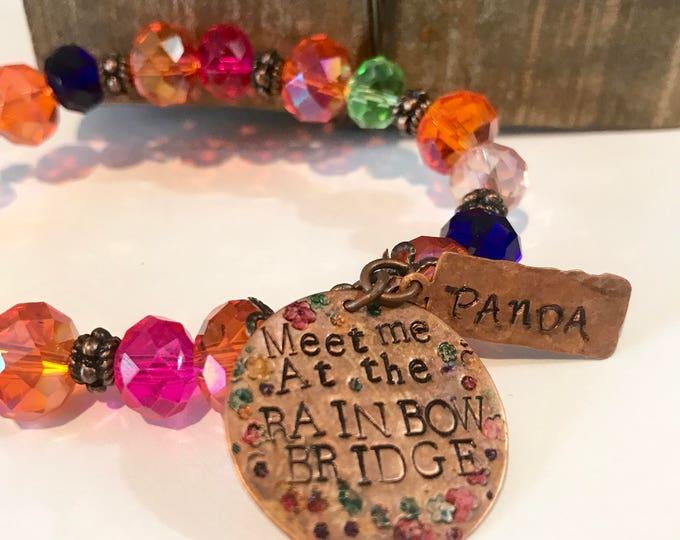 Rainbow bridge pet memorial crystal bracelet with copper accents