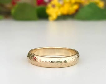 9ct yellow gold hammered finish wedding ring 4mm wide gents ring womens ring