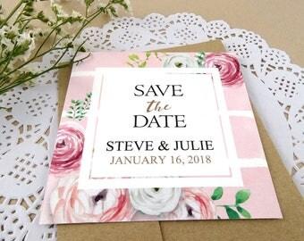 Romantic Roses, Save the Date, Handpainted Pink Flowers, Flower Frame, Simple, Elegant, Recycled, Brown Kraft Paper Envelope