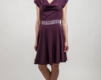 flared dress purple with cowl neck and belt in purple and white geometric pattern