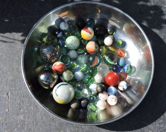 Vintage Marbles - French les Billes - Diverse Mix - Cats Eye/Fancy/Shooter/Transparent Marbles - Alleys/Mibs/Ducks
