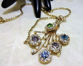 Vintage Barclay Floral Rhinestone Necklace