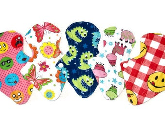 """7 1/2""""long Set 5 Flannel Reusable Panty Liners/ washable cotton panty liners/personal care natural product"""