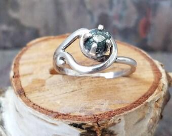 Raw blue diamond ring blue diamond ring raw diamond engagement ring conflict free diamond ring raw blue diamond  wedding ring ooak unique