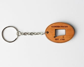 Connecticut Key Chain, wood, laser engraved