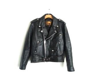 Vintage 80s Black Leather Motorcycle Jacket Punk Rock Bonus Size 38