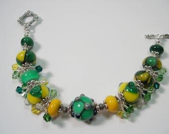 Lampwork bracelet, Lampwork beaded bracelet, Organic lampwork beads, Green and Yellow  Glass Lampwork bracelet.