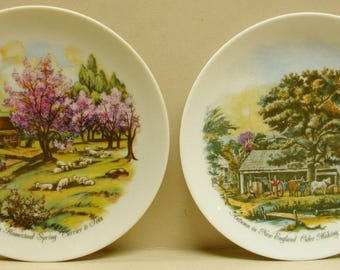 Currier & Ives Decorative Collector Plates, American Homestead Autumn Spring New England Plaques
