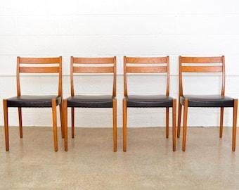 mid century chairs, Svegards Markaryd teak dining chairs made in Sweden, mid century Scandinavian modern, vintage, set of 4