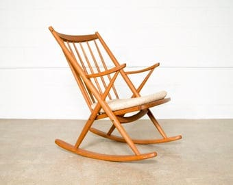 Mid Century Rocking Chair, Wood Rocker, Danish Modern Frank Reenskaug for Bramin Rocker, Vintage