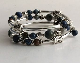 MEMORY WIRE BRACELET, Sunset Dumortierite Gemstones, Memory Wire, Wrap Bracelet, Coil Bracelet, Spacer Beads