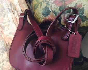 Vintage Coach Hipster Bag // Coach Crossbody Leather Bag // Coach Slim Saddle Purse // Oxblood Made In USA #9142