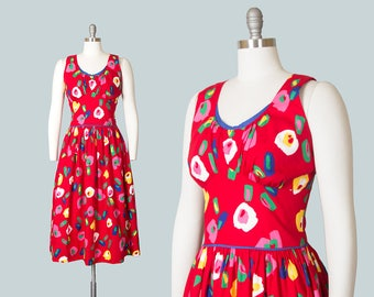 Vintage 1950s Style Dress | 80s Floral Cotton Sundress Red Full Skirt Day Dress with Pockets (medium)