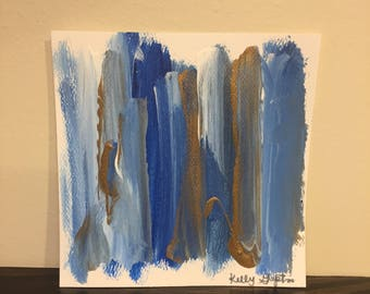 Abstract acrylic painting - blue, gold, white, blended color