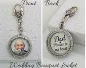Wedding Bouquet Memorial Charm In Memory Of Dad Wedding Bouquet Photo Charm Wedding Bouquet Locket Bridal Locket Bouquet Charm