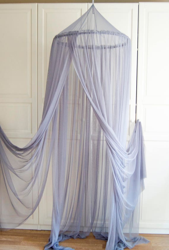 READY TO SHIP Gray Baldachin Tulle Canopy Crib Bed Mesh