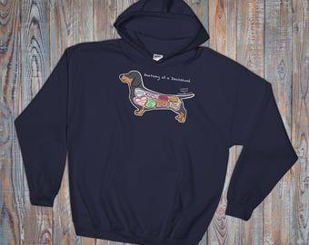 Anatomy of a Dachshund - Funny Dog Hoodie - Dark Colors - Hooded Sweatshirt