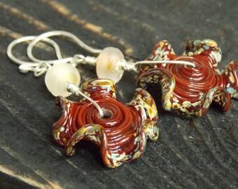 Barn Red Ruffle Earrings. Artisan Earrings. Luxe Glass Dangle Earrings. Primitive Earrings