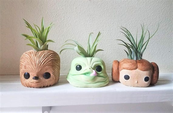 Star Wars character inspired planters , Chewbacca, air plant holder, Jabba the Hut, geeky gift, air plant gift set