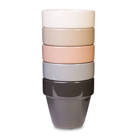 Pastel planters, set of flower pots, Earth tones, peach, ivory, tan grey, modern pastel home accent