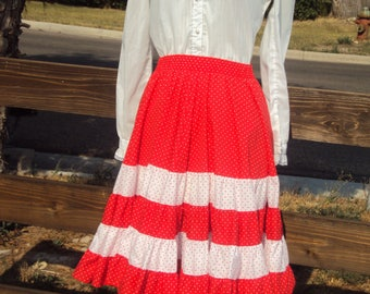 Mid Century Womens White Gunne Sax Style White Blouse/Red & White Polka Dot Square Dance Skirt/ Size S/Country Dance Skirt/White Lace Blouse