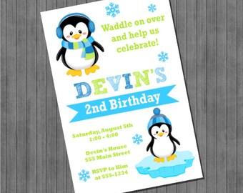 ON SALE!!  Penguin Invitation - Blue