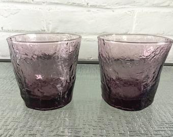 Morgantown Glass Guild Amethyst Color Crinkle Pattern Old Fashion Glasses