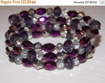 20%OFF Purple Violet and Silver Czech Glass Beaded Wrap Bracelet
