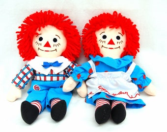 Vintage Raggedy Ann & Andy Dolls by Applause 12 inch Cloth Doll Retro 70s Toys